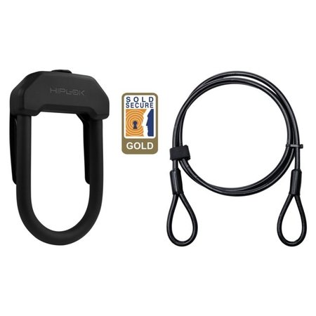 Hiplok Beugelslot DX Zwart + Kabel 2 meter