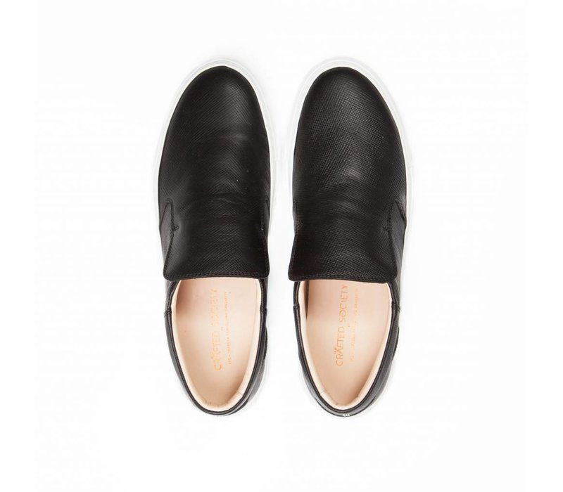 NEW Como Slip-on Black Safiano white outsole