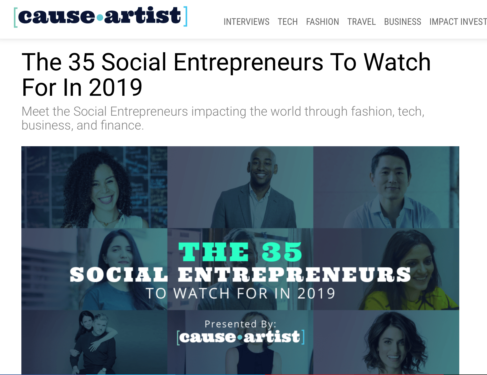 Cause artist.com The 35 Social Entrepreneurs To Watch For In 2019