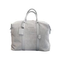 Nando Weekender  - light grey canvas light grey saffiano