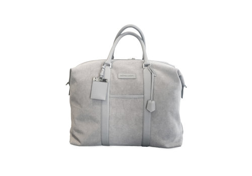 Nando Weekender  - light grey canvas light grey Saffiano