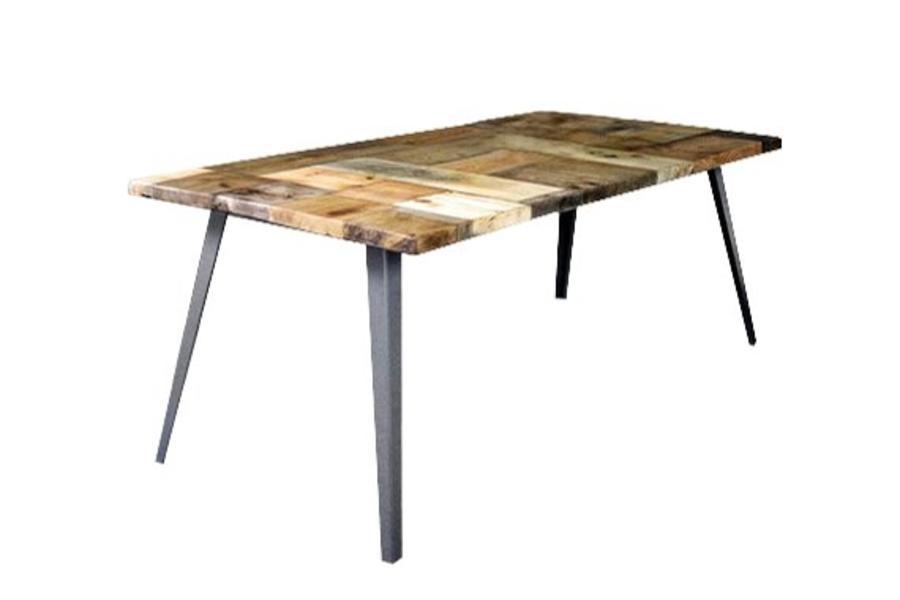 FraaiBerlin Esstisch aus Bauholz & Eisen Krijn 200 x 100 cm pulverbeschichtet grau