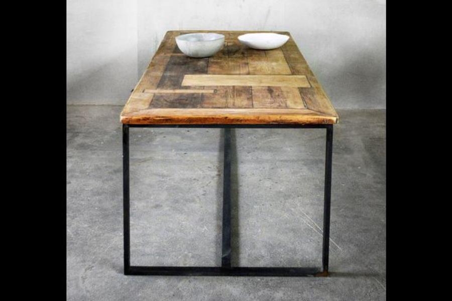 FraaiBerlin Esstisch aus Bauholz & Eisen Nadine 200 x 100cm