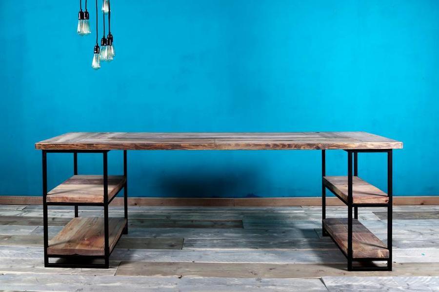 FraaiBerlin Schreibtisch aus Bauholz, Siara 220 x 70 cm