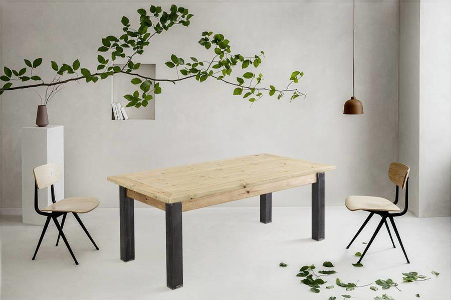 FraaiBerlin Bauholz Tisch Jasmijn mit Arles Eisengestell