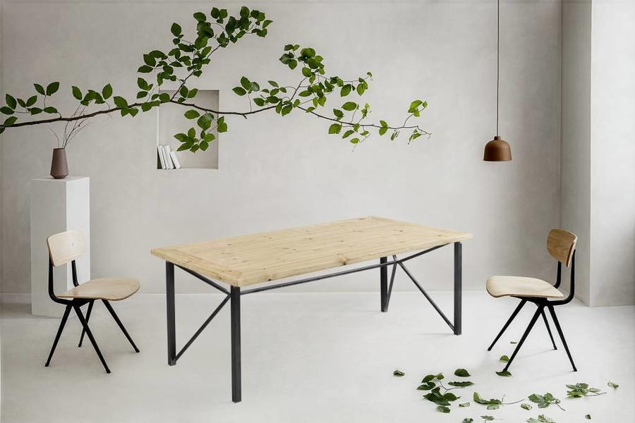 FraaiBerlin Bauholz Tisch Jasmijn mit Donoe Eisengestell 180x100cm
