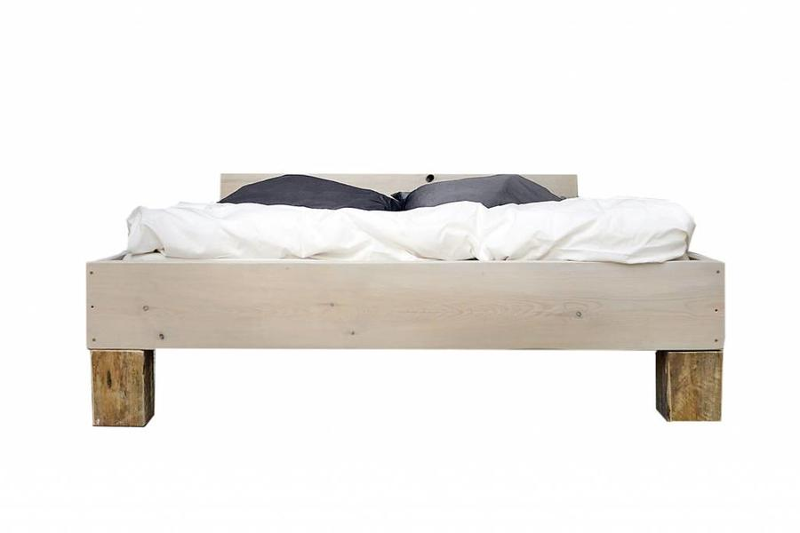 FraaiBerlin Bauholz Bett Castres White Wash