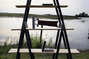 FraaiBerlin Regal Birke und Eisen Alden 200x180x30cm