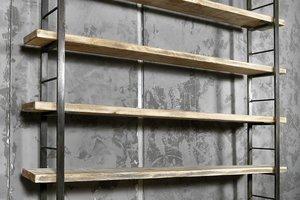 FraaiBerlin Regal Bauholz/Eisen Sinem Bücherstützen 210 cm x 200 cm x29 cm