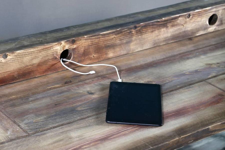 FraaiBerlin Schreibtisch aus Bauholz Siara, 220 x 70 cm