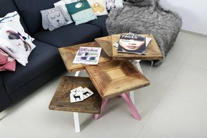 FraaiBerlin Couchtisch Set aus Bauholz und Eisen Doris