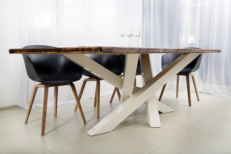 FraaiBerlin Esstisch aus Bauholz/ Eisen Hanna weiß 240 x 120 cm