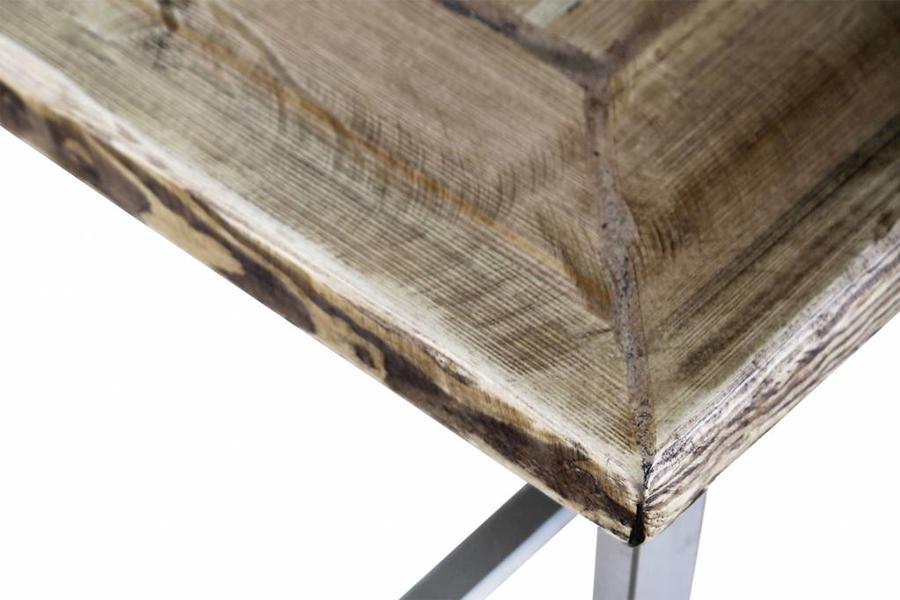 FraaiBerlin Bauholz Tisch Nadine Edelstahl 160 x 80cm