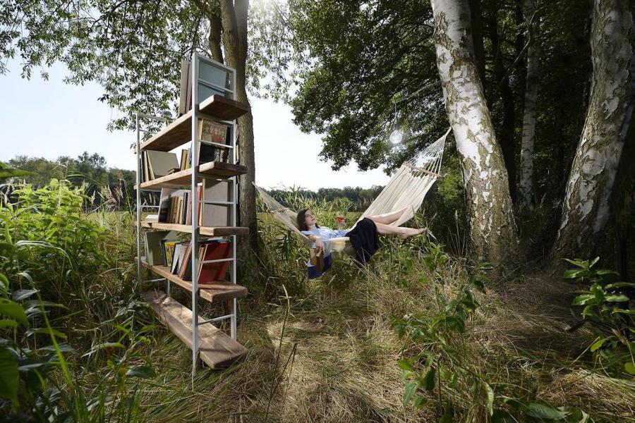 FraaiBerlin Regal Bauholz/Eisen Sinem Bücherstützen weiß 210x170x29cm