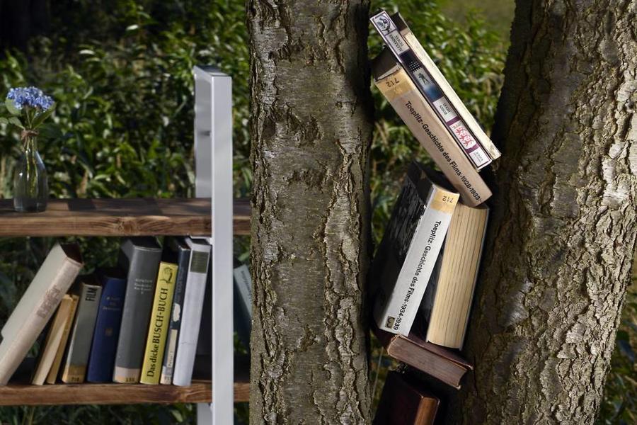 FraaiBerlin Regal Bauholz/Eisen Sinem Bücherstützen weiß