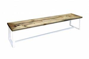FraaiBerlin Bank Industrial Stil & Eisen Rachel pulverbeschichtet weiß 180x40cm