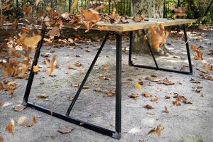 FraaiBerlin Bauholz Tisch Livia 180x90cm Grey Wash