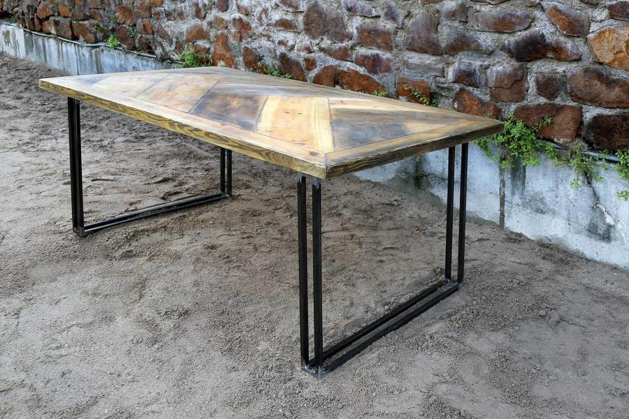 FraaiBerlin Esstisch aus Bauholz & Eisen Yael 200x100 cm