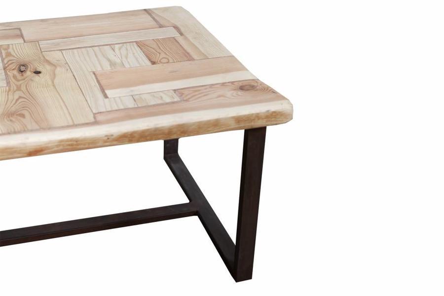 FraaiBerlin Couchtisch aus Bauholz und Eisen Annelies mit Rostbehandlung 110x70x45cm
