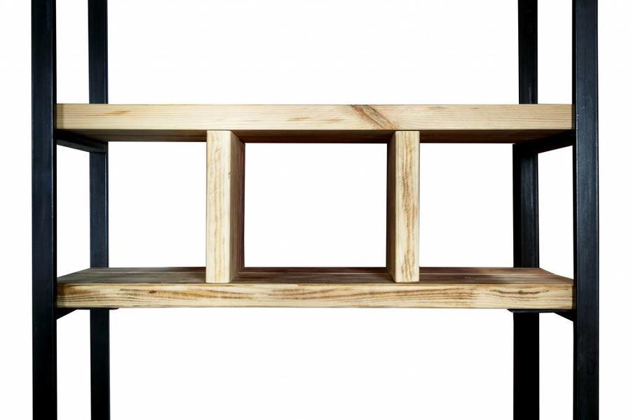 Regal Bauholz/Eisen Sinem 6, 210x105x44cm - FraaiBerlin