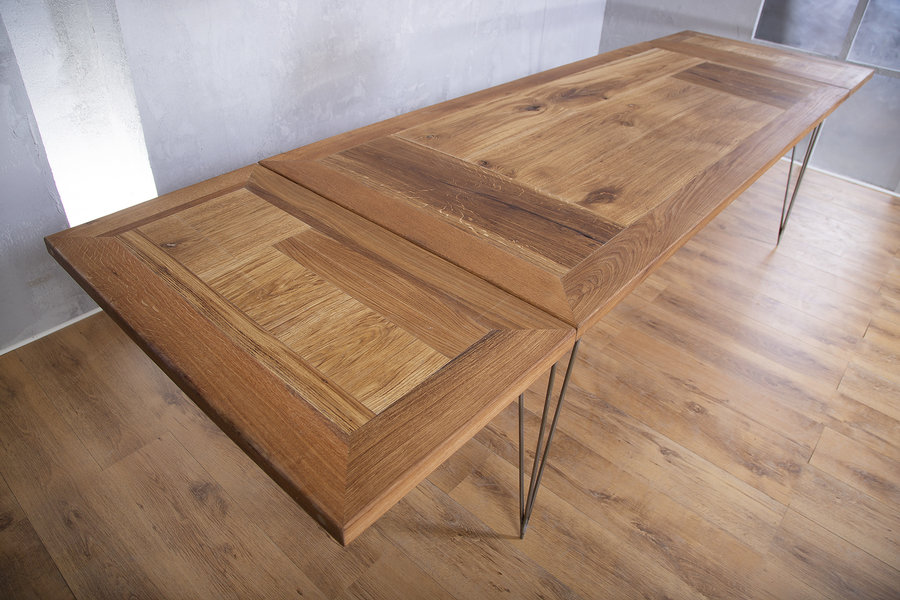 FraaiBerlin Esstisch aus Altholz Eiche & Eisen Vrolijk 210 x 90 cm mit 2 Ansteckplatten á 50cm