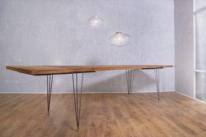FraaiBerlin Esstisch aus Altholz Eiche & Eisen Vrolijk mit Ansteckplatten