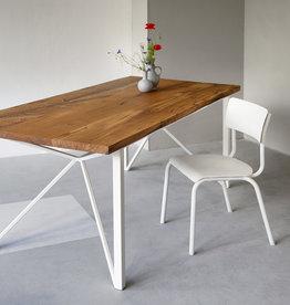 FraaiBerlin Esstisch aus Altholz Eiche Loren/Donoe weiß, 160x90cm