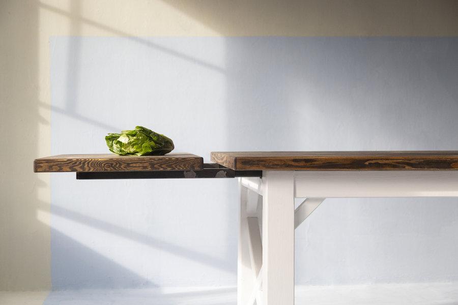 FraaiBerlin Landhaus Tisch Loren/Liv  200 x 90cm mit Ansteckplatten