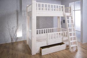 FraaiBerlin Bauholz Kinder Hochbett White Wash