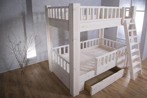 FraaiBerlin Bauholz Hochbett für Kinder White wash - 201 x 209,5 x 121 cm