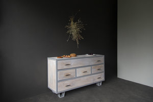 FraaiBerlin Kommode Lili im Industrial Chic White Wash aus Bauholz