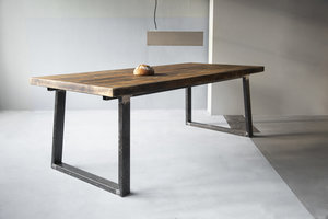 FraaiBerlin Esstisch aus Bauholz und Eisen Lidet/Loren 220x100cm schwarz mit Ansteckplatten