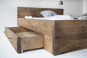 FraaiBerlin Bauholz Bett Changy mit 2 großen Schubladen, dunkelbraun