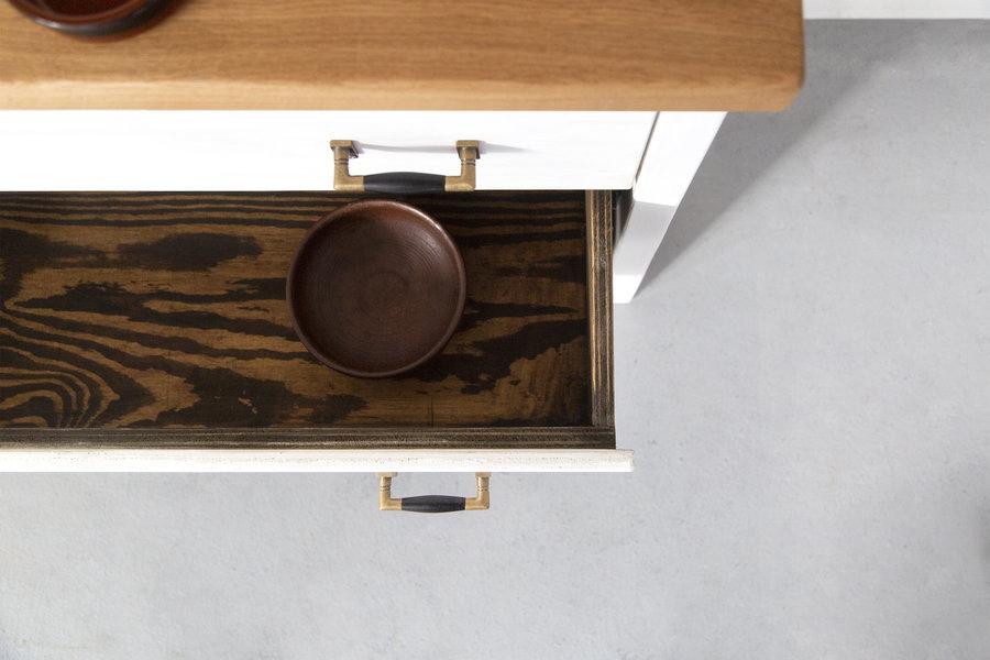 FraaiBerlin Kommode im Landhaus-Stil Inez 3 mit Eichenplatte