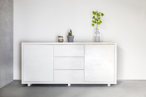 FraaiBerlin Kommode im Landhausstil Luan aus Bauholz white washed