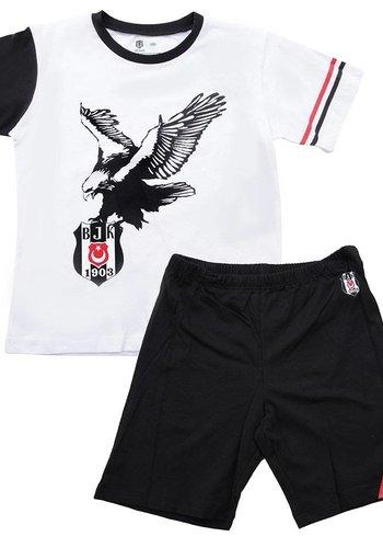 BJK zweiteilig outfit mit short kinder 01 schwarz-weiss