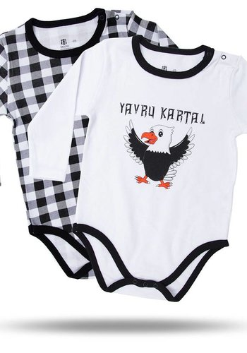 BJK BABY BODY SET 2 PCS. 02 WHITE-BLACK