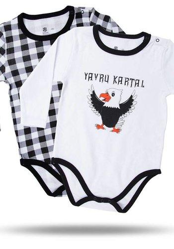 BJK BABY BODY SET VAN 2 ST. 02 WIT-ZWART
