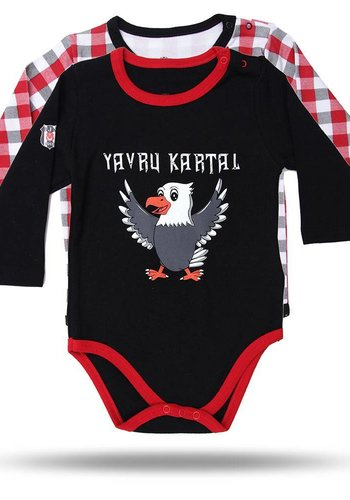 BJK BEBEK 2'Lİ BODY SET 02 Siyah - Kırmızı