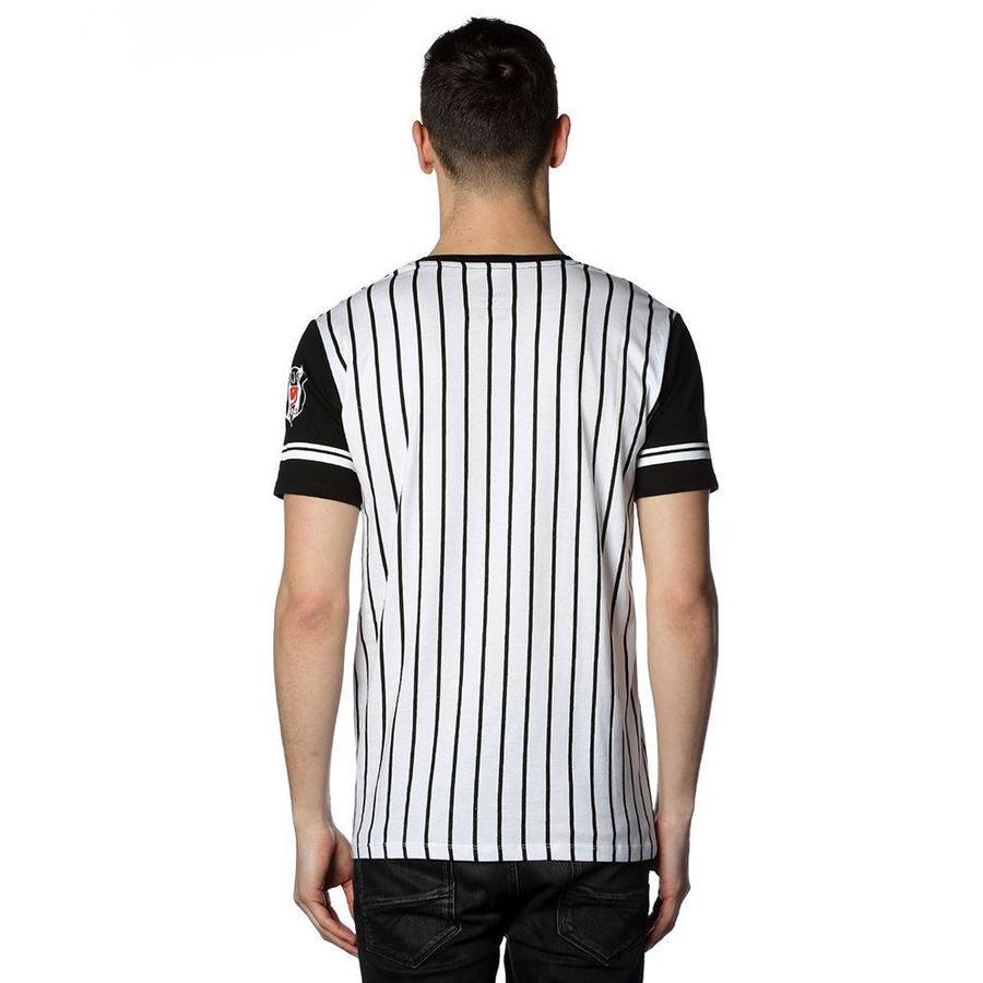 Beşiktaş mens striped college t-shirt 7718117 BLACK-WHITE