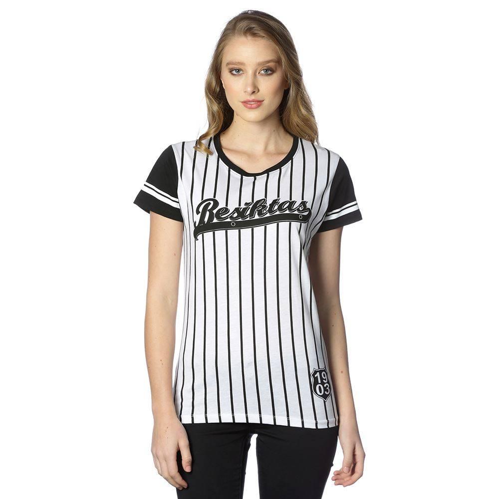 Beşiktaş womens striped college t-shirt 8718117 BLACK-WHITE - Kartal ... 7b0645cdd