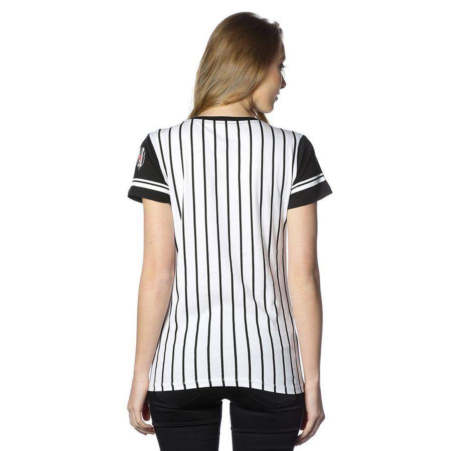 Beşiktaş college t-shirt rayé pour femmes 8718117 NOIR-BLANC