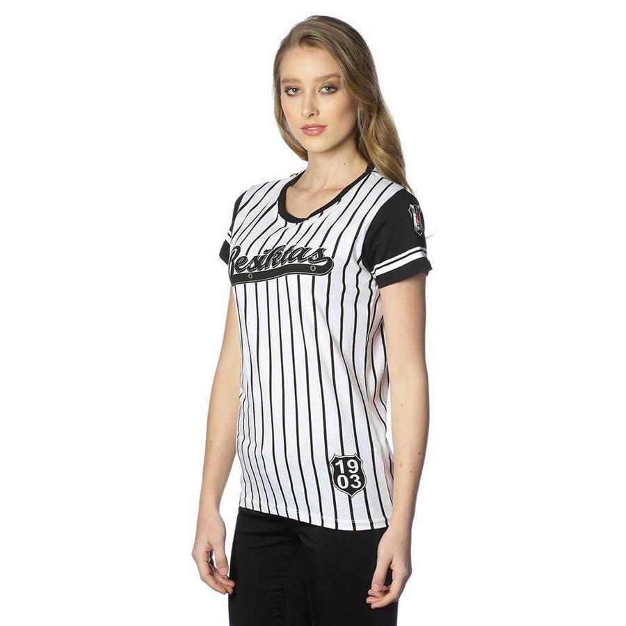 Beşiktaş gestreept college t-shirt dames 8718117 ZWART-WIT