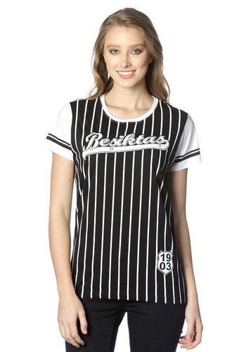 Beşiktaş gestreift college t-shirt damen 8718117 Schwarz
