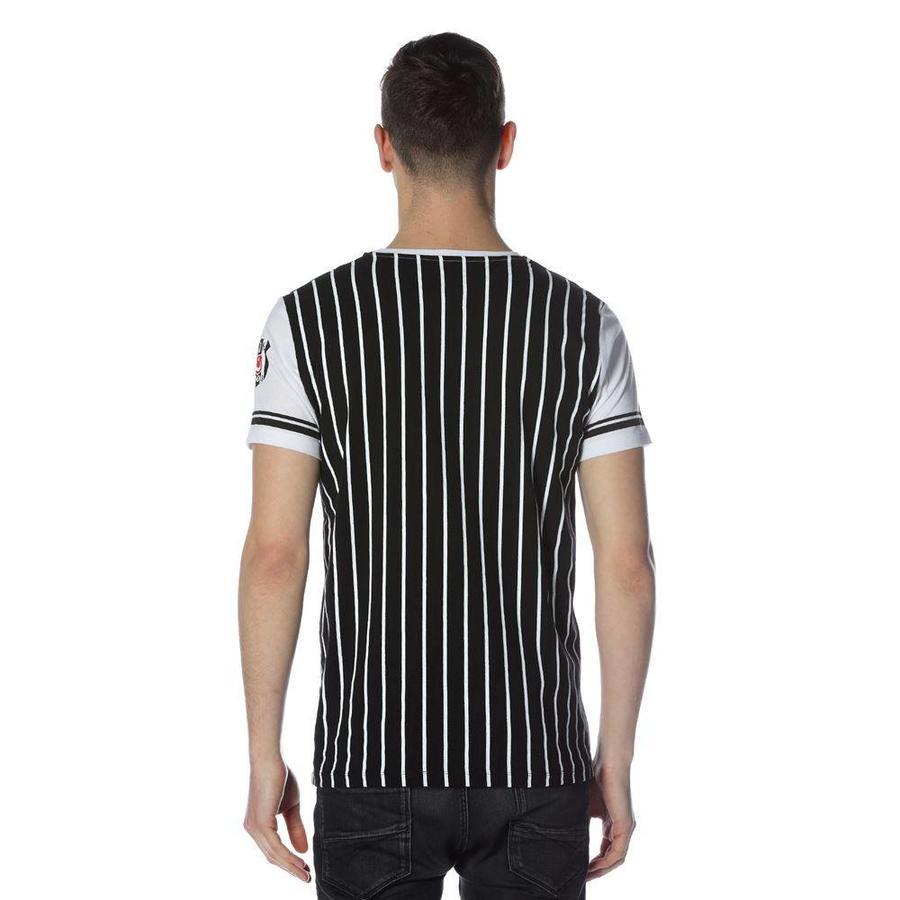Beşiktaş gestreept college t-shirt heren 7718117 Zwart
