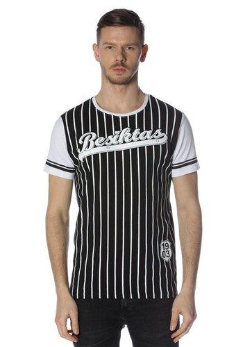 Beşiktaş mens striped college t-shirt 7718117 Black