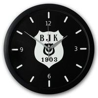 Beşiktaş silber logo Wanduhr