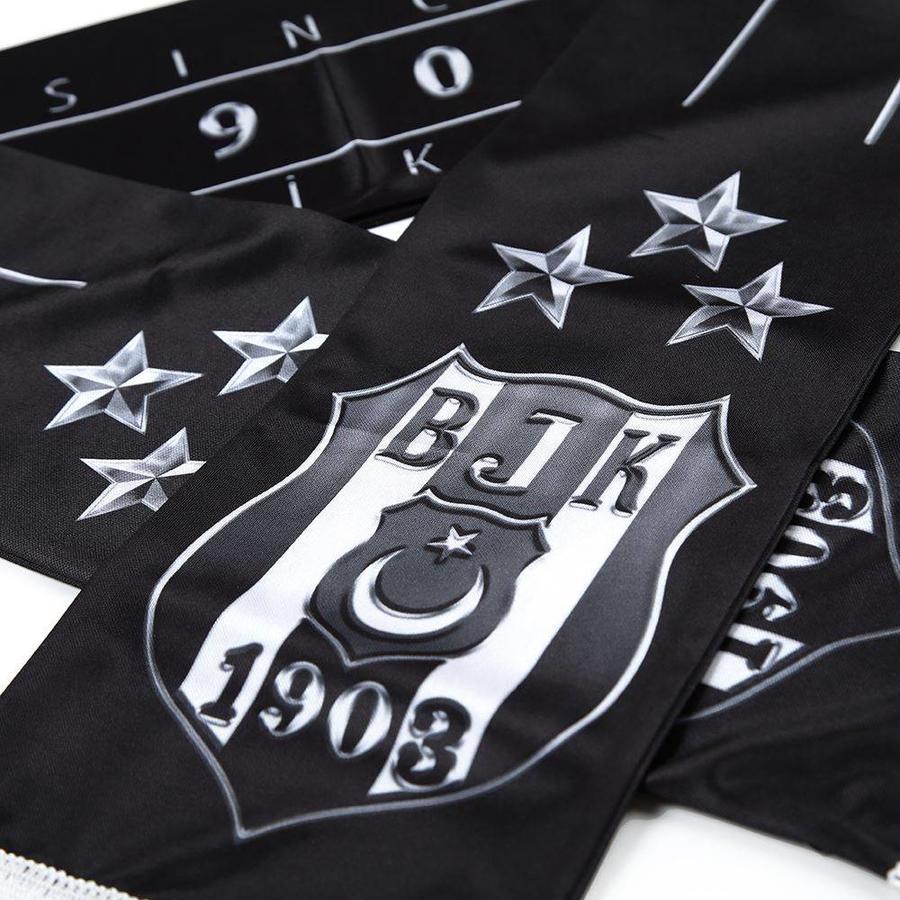 Beşiktaş 3 stars silver logo satin scarf