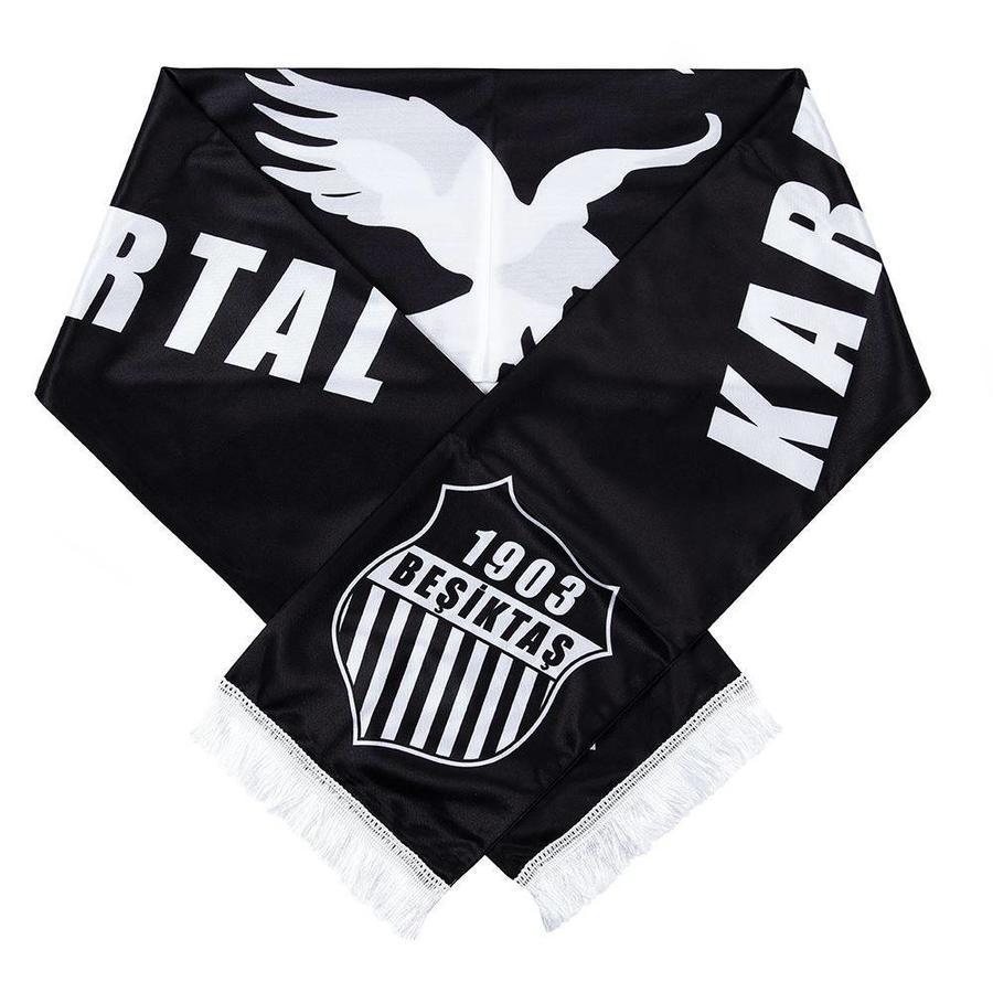 Beşiktaş black eagle pin logo satin scarf