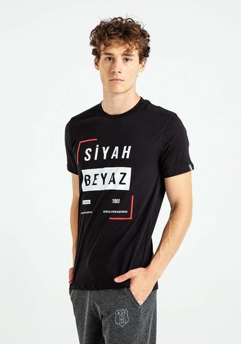 Beşiktaş Schwarz Weiss Frame T-Shirt Herren 7819112 Schwarz